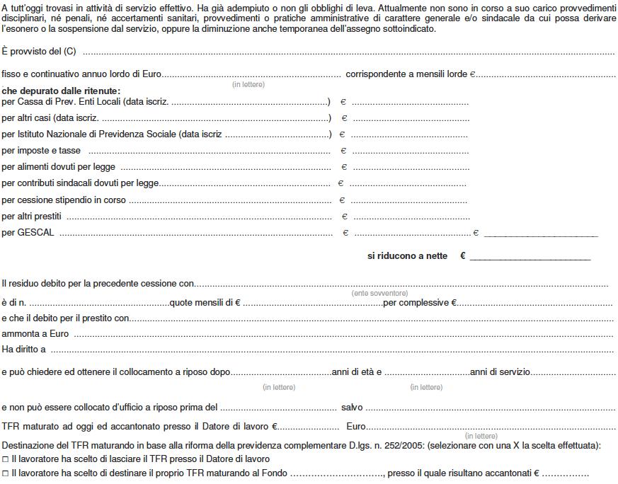 Esempio di certificato di Stipendio